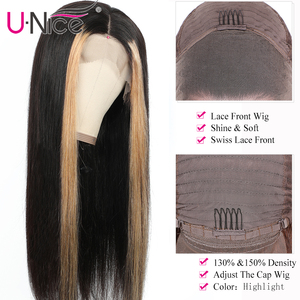 "Image 5 - Unice Hair 13x4 Highlight Lace Front Human Hair Wigs 8 24"" Brazilian straight Hair Wigs Human Hair Natural Wigs Free Shipping"
