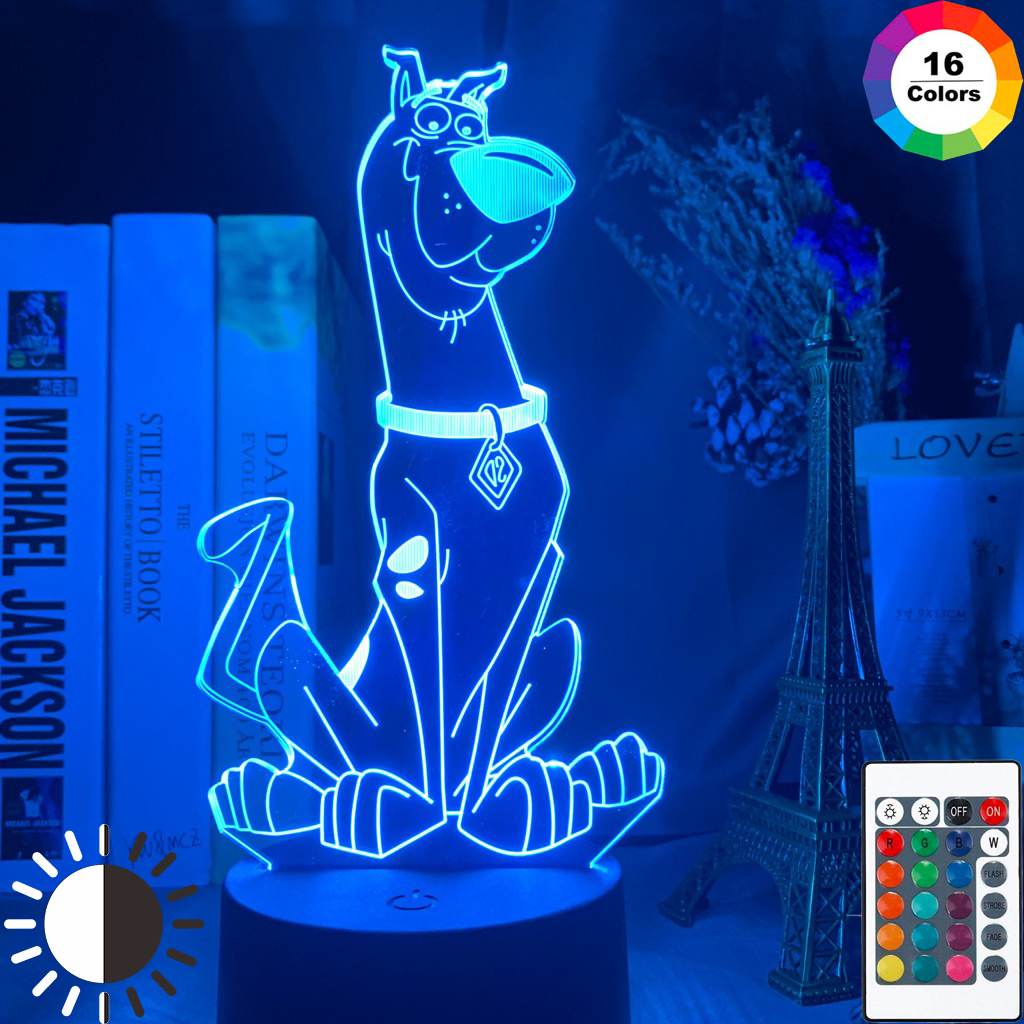 Cute Cartoon Dog Scooby Doo Figure Baby Night Light Led Colorful NightLight For Kids Bedroom Decor Bedside Table 3d Lamp Gift