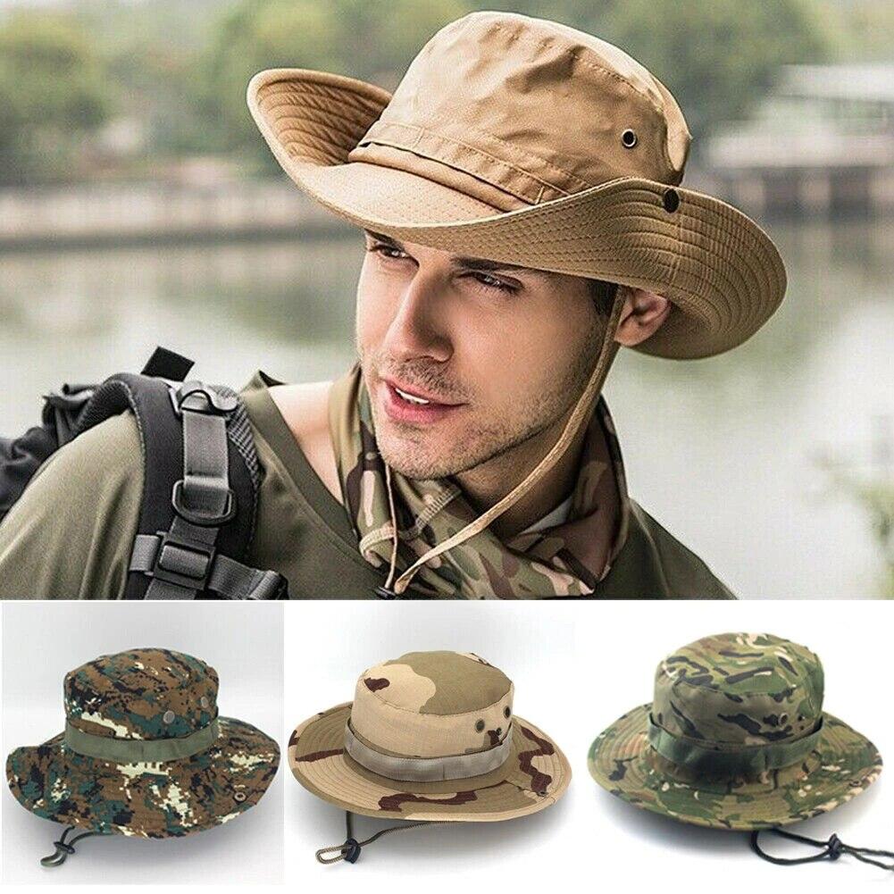 Hats Brim Fishing Wide Camo Bucket Boonie Hiking Cap Mens Hunting Military Sun