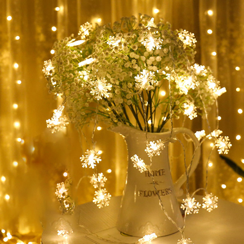 YINUO CANDLE 1.5M 3M Snowflake LED String Lights Flash Fairy Lights Battery Christmas Wedding Party Decoration Lights Holiday