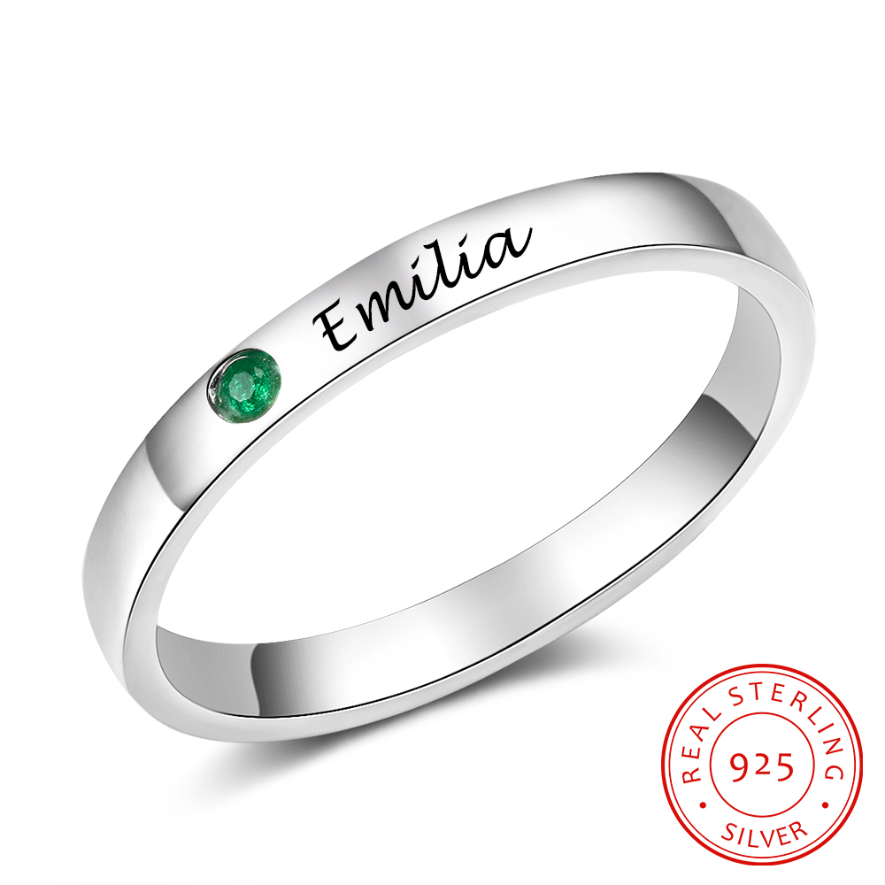 925 Sterling Silver Finger Ring Personalized Name Custom Birthstone Ring Engagement Wedding Gift For Women Silver 925 Jewelry