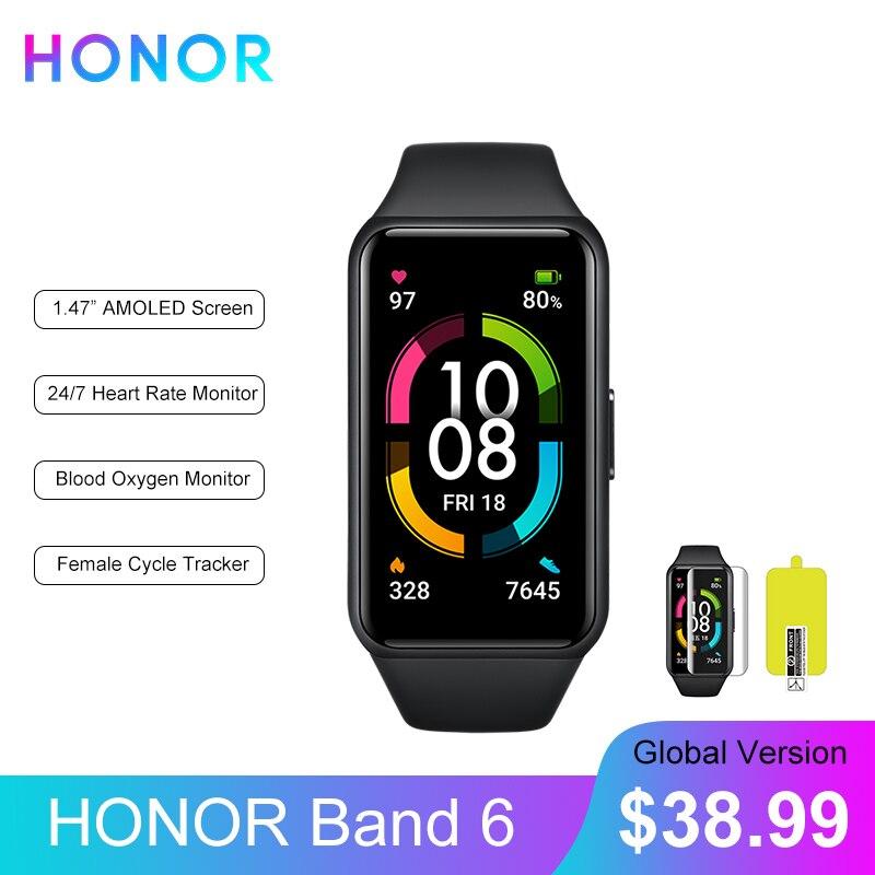 Global Version HONOR Band 6 Smart Bracelet Waterproof Smartwatch Heart Rate Monitor Blood Oxygen AMOLED Screen Smart Band