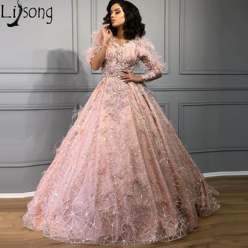 Bling Bling Ball Gown Evening Dress 2020 Long Sleeve Sparkly Robe De Soiree Lace Feathers Dusty Pink Prom Dresses Party Gowns