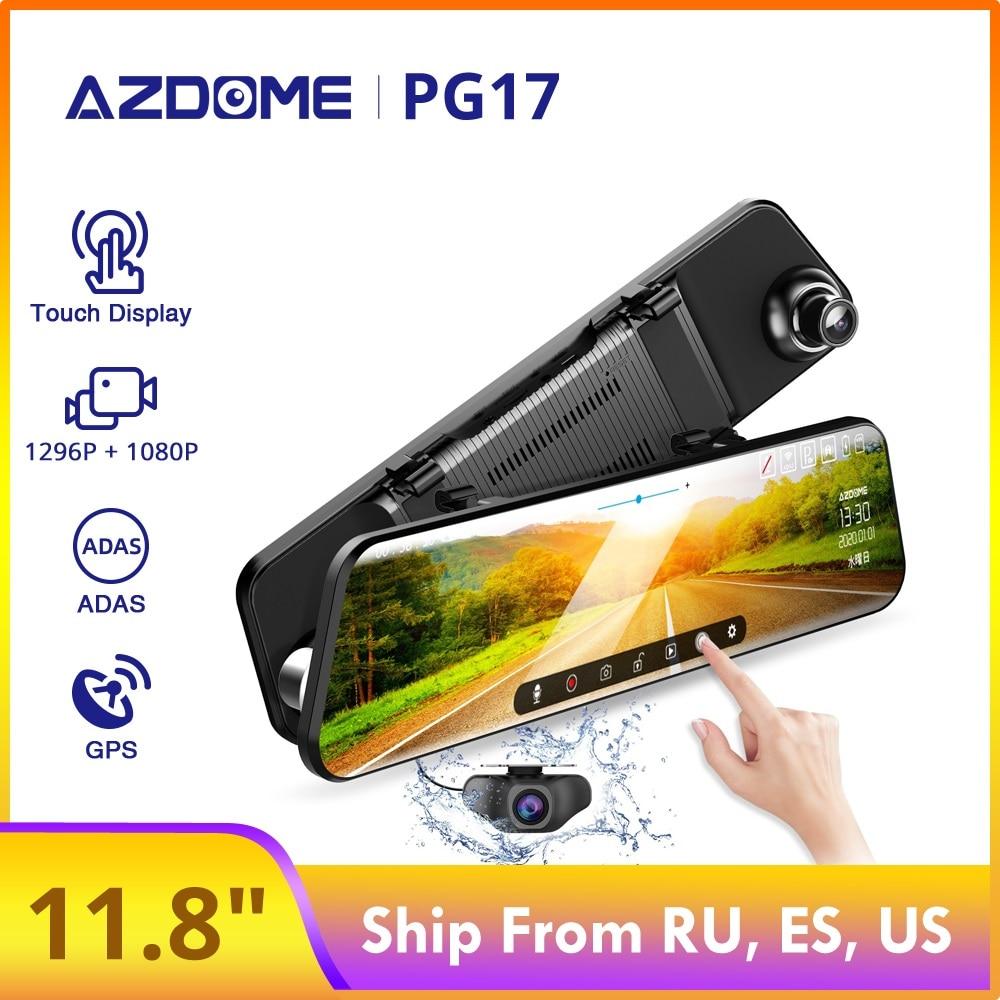 "AZDOME 12"" PG17 ADAS Car DVR Night Vision Full Screen GPS DVRS Stream Media Recorder Dual Lens 1296P Backup Camera 24H Parking"