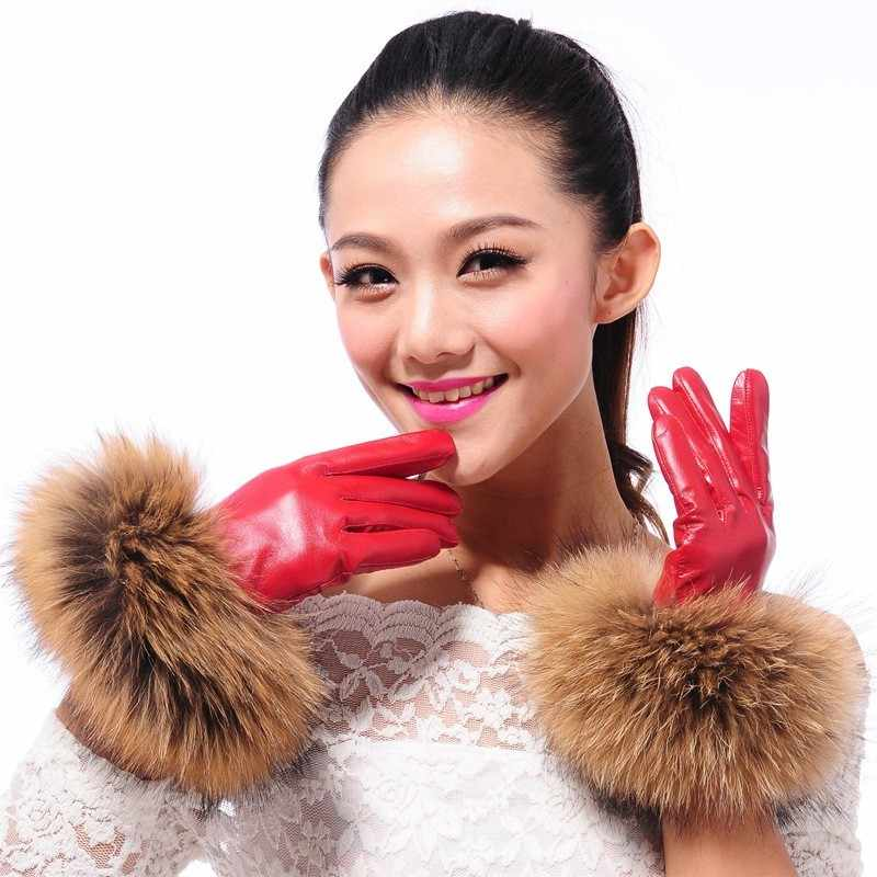 Luxury Women's Winter Sheepskin Touch Screen Gloves Real Raccoon Fur Genuine Leather Glove Female Black Red Warm Fleece Mittens