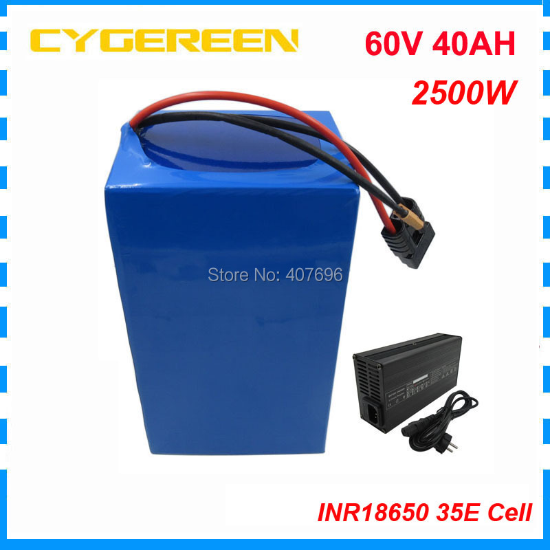 Free customs fee 2500W <font><b>60V</b></font> 40AH Lithium battery <font><b>60V</b></font> Electric bike battery pack use for <font><b>samsung</b></font> cell 50A BMS with 5A Charger image