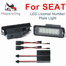 2x White 18SMD LED License plate lights For Seat Leon2 Leon3 Exeo Altea  Ibiza Bulb Replacement Car Tail Number Plate Lamp mzorange 2pcs set with canbus error free white 18smd led car number license plate lights for seat altea exeo st ibiza leon