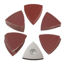 100PCS 80MM Triangle Sandpaper Polishing Disk Sand Sheets 60-240 Grit Sanding Disc w/ Pad for Cleaning Tool