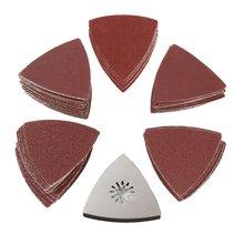 100PCS 80MM Triangle Sandpaper Polishing Disk Sand Sheets 60-240 Grit Sanding Disc w/ Sanding Pad for Polishing Cleaning Tool стоимость