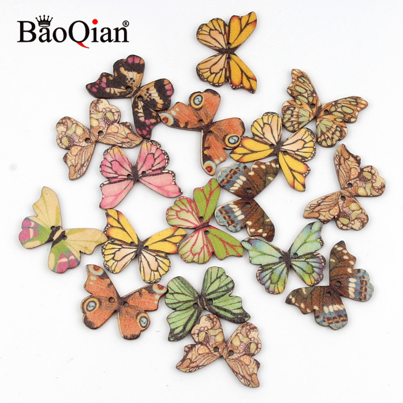 New Fashion 20pcs 2 Holes Colorful Butterfly Wooden Buttons Fit Sewing And Scrapbooking Sewing Buttons For Craft Diy Decoration 21x28mm