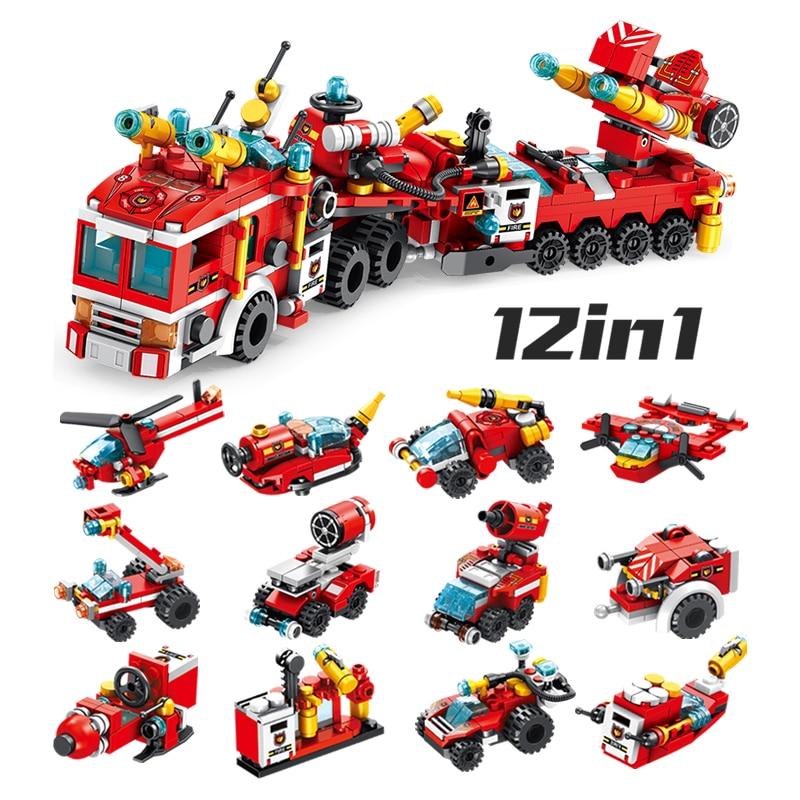 244 шт. пожарные спасательные машины, строительные блоки, городской полицейский пожарный кирпич, детские игрушки для мальчиков
