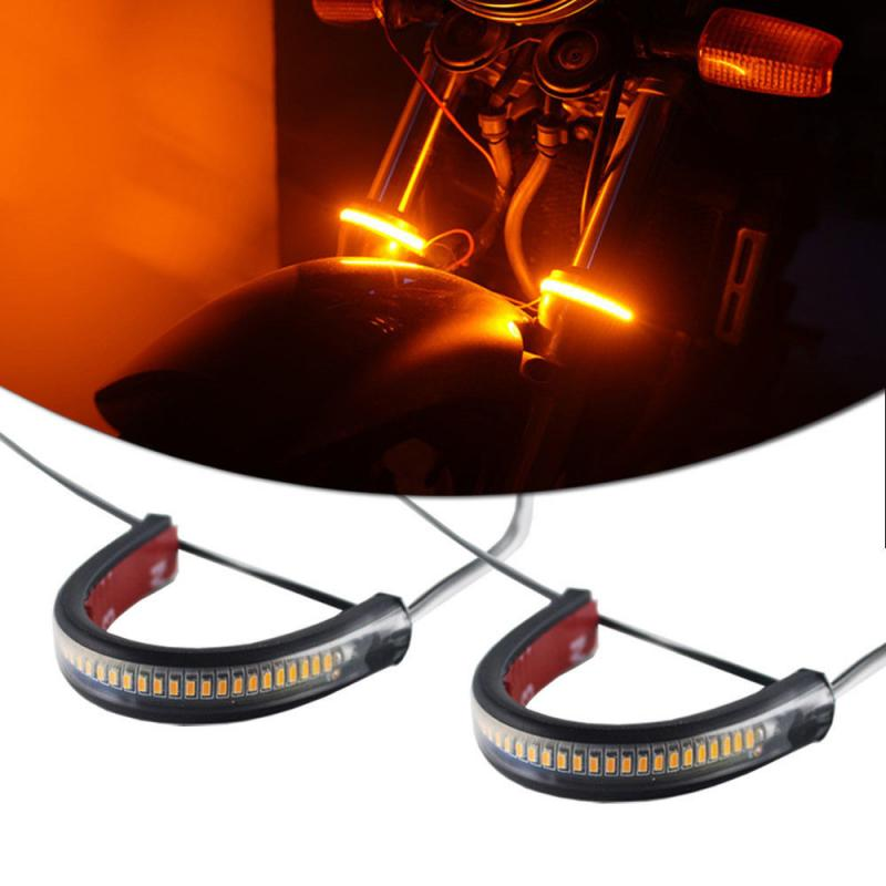 2X Universal Super Bright Amber LED Fork Turn Signal Light Strip Motorcycle For Motorcycle Fork Or ATV UTV Rollbar Turn Signal