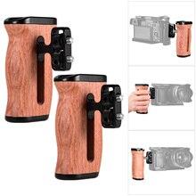 Uniwersalna klatka operatorska drewniany uchwyt ściskacz boczny z mocowaniem na zimno 1/4 Cal 3/8 Cal otwory na śruby akcesoria fotograficzne