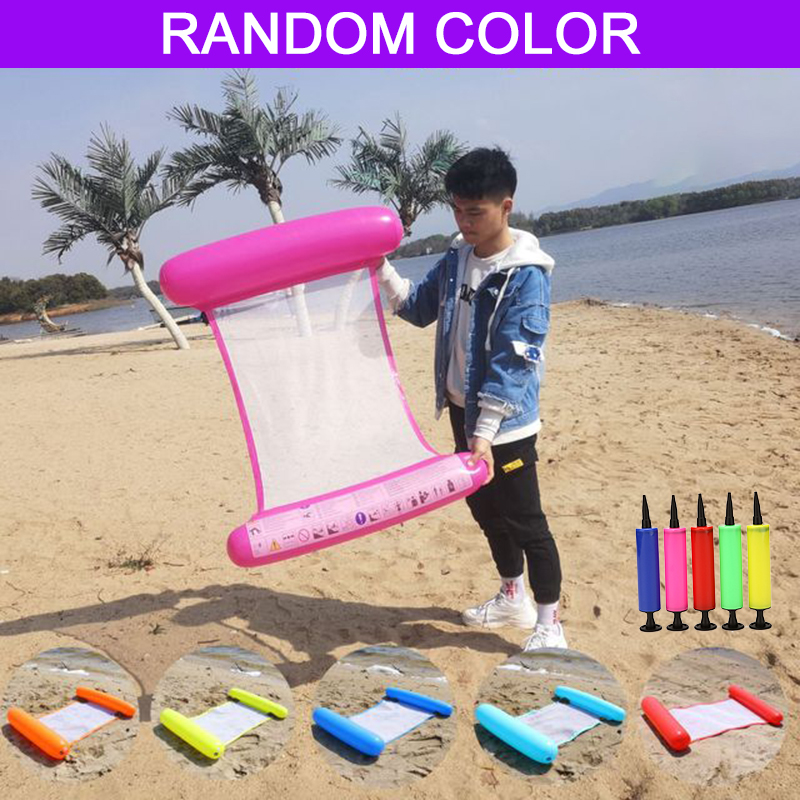 Summer Swimming Inflatable Floating Water Hammock Float Pool Lounge Bed  Chair Beach Jug Random Colors With Send Manual Pump