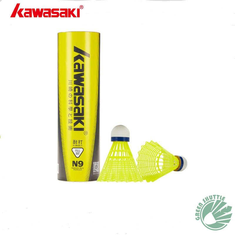 Genuine Kawasaki Badminton Plastic Nylon Ball N9 For Training 6 Pcs Feather Shuttlecock Birdies