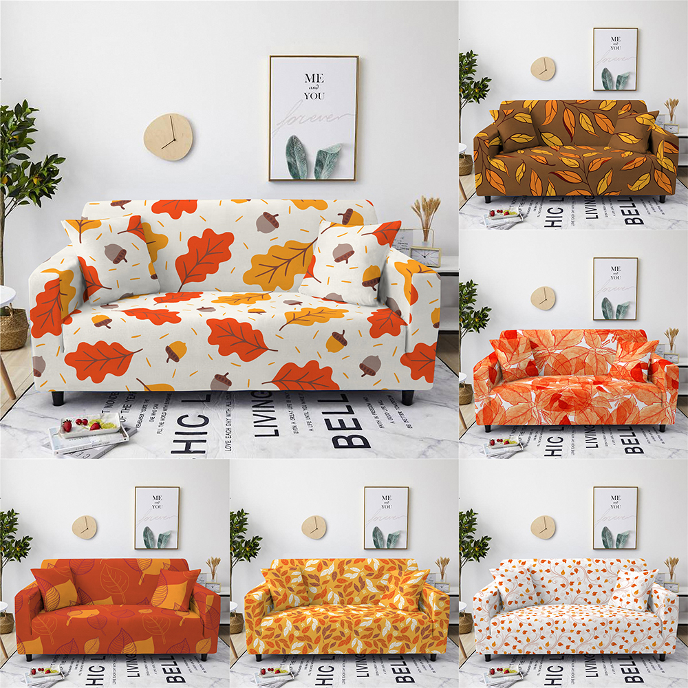Luxury stretch slipcovers maple leaf style sofa cover 1 2 3 4 seat cover suitable living