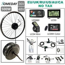 SOMEDAY 36V/48V 500W Electric Bicycle Conversion KIt 16 29 700C Brushless Gear Front Hub Motor Wheel for Electric Bike