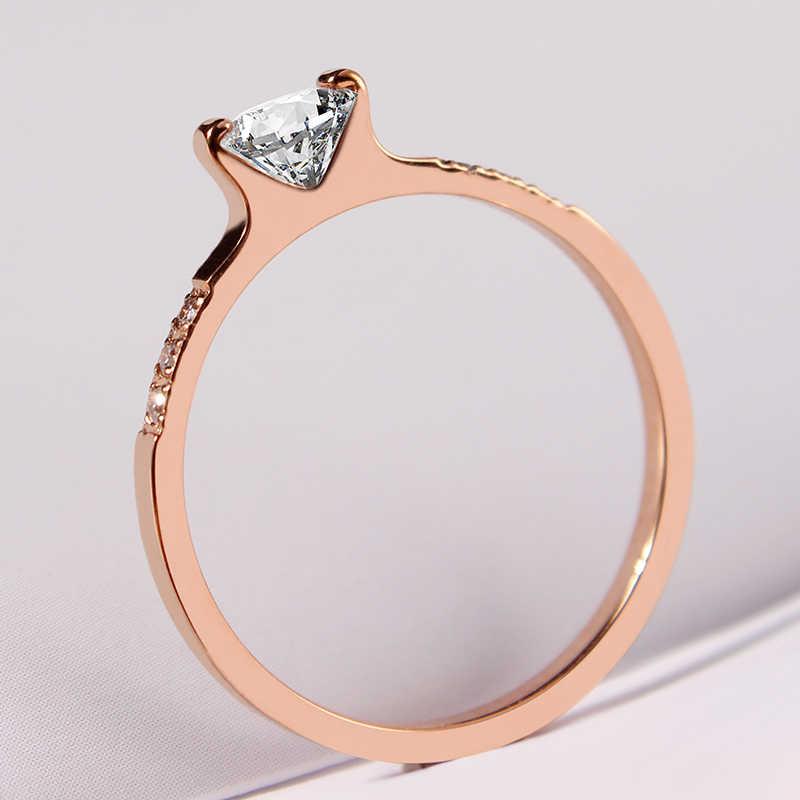 AAA Cúbicos de Zircônia Anel de Noivado de Luxo em Ouro Rosa de Aço inoxidável Cadeia Anel Mulheres Jóia Do Casamento Do Favo de mel aliança
