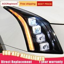 2 шт. светодиодный фары для Cadillac ATS- светодиодный автомобильный фонарь ангельские глазки ксенон все светодиодный Противотуманные фары светодиодный дневные ходовые огни