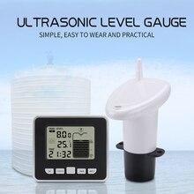 أداة قياس درجة حرارة خزان المياه ، جهاز لاسلكي بالموجات فوق الصوتية ، مقياس عمق السائل مع شاشة عرض درجة الحرارة