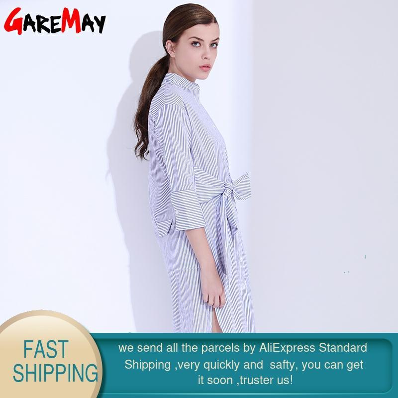 Skjorta klänning kvinnor randig mantel femme snörning tunika - Damkläder - Foto 2