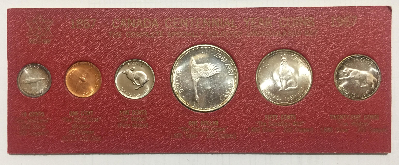 Canadá 1967 1 centavo-dólar conjunto completo 6 peças unc real coleção de moedas originais com 4 moedas de prata