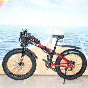 26 дюймов Электрический велосипед складной электрический снег велосипед 1000 Вт Мощный мотоцикл 48v15ah батарея горный электрический велосипед ...