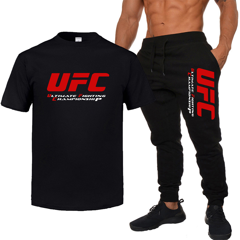 UFC Fighting Ultimate Fighting Cotton Short-sleeved Trousers Casual Men's T-shirt & Sports Long Pant Sweatpant Sets Tracksuit