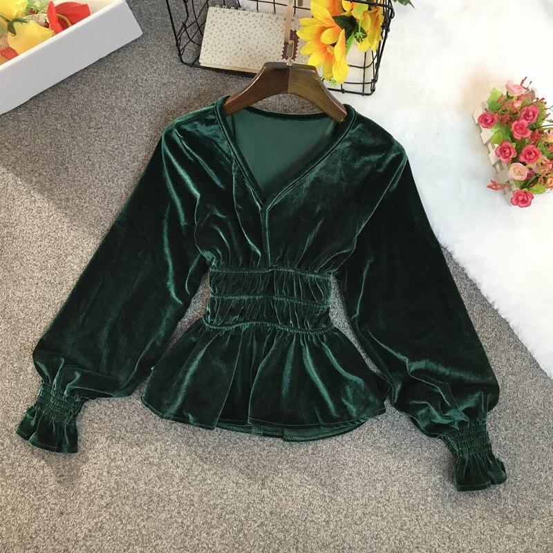 2020 New Spring and Autumn Vintage V-neck Velvet Shirt Women Long-sleeved Shirts Slim Short Bottoming Shirt Female Top NS1390