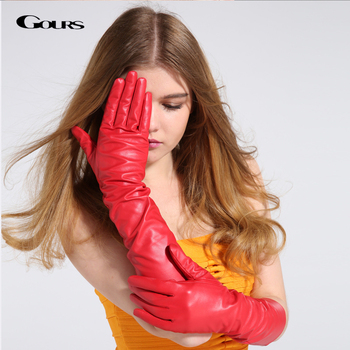 GOURS Winter Genuine Leather Gloves Women Black Real Goatskin Long Gloves Fashion Brand Driving Mittens Warm New Arrival GSL035 brand russian winter women warm fashion gloves female genuine leather mittens 100