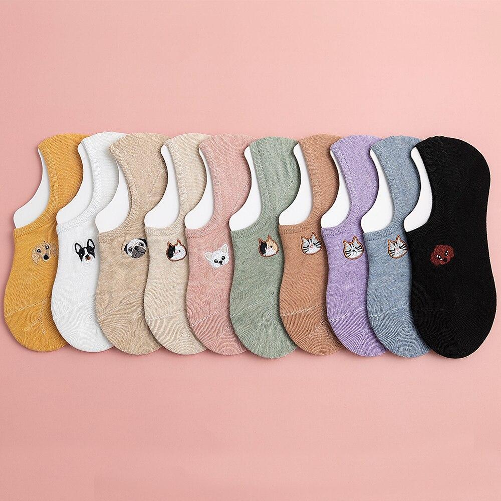 Женские носки лодочки, носки с закрытым носком на весну, лето и осень, тонкие хлопковые женские носки с вышивкой в виде животных|Носки-следки| | АлиЭкспресс