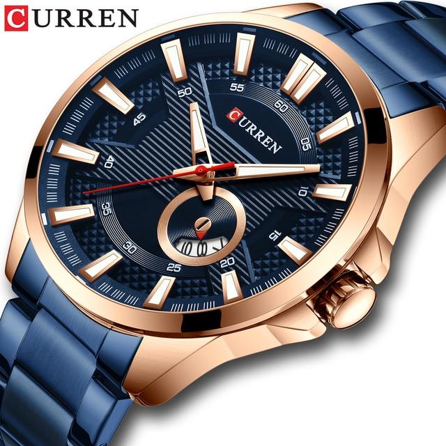 CURRENビジネスクォーツ時計男性用高級腕時計メンズブランドステンレス鋼腕時計レロジオ Masculino 防水時計