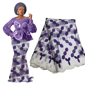Latest Royal Blue Black African Lace Fabric Bridal Materials High Quality Nigerian Swiss Voile With Stones