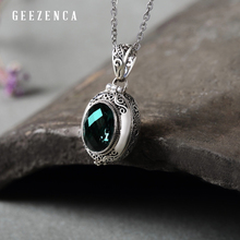 925 Sterling Silver Honk Black Box Red Green Crystal Pendant Handmade Tibet Vintage Pendants Fine Jewelry Gift Without Necklace