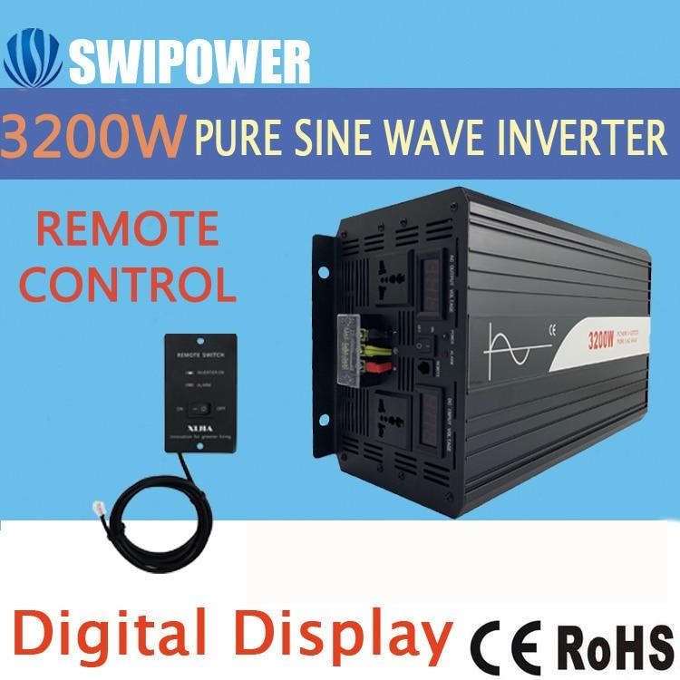 3200w 3000W czysta fala sinusoidalna falownik solarny DC 12V 24V 48V do AC 110V 220V cyfrowy wyświetlacz