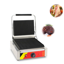Commercial Electric Stripe Contact Grill Egg Panini Press Plates Sandwich Steek Meat Burger Griddle