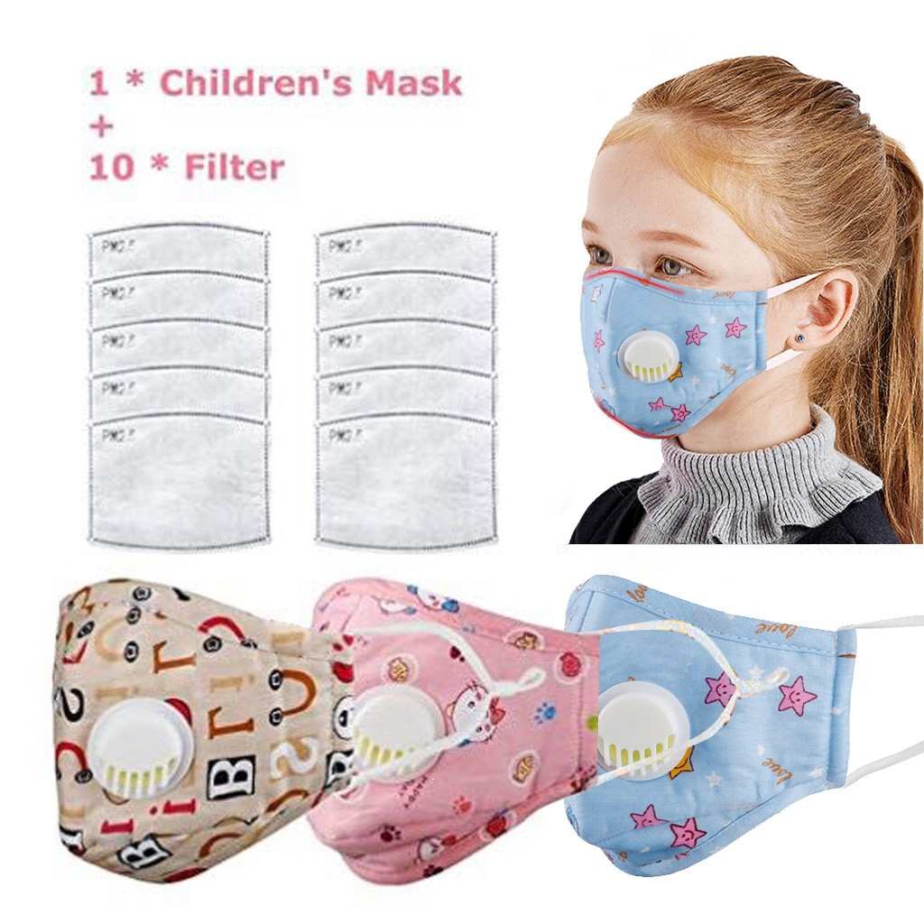 4PCS Kids Anti Pollution PM2.5 Non-woven Cartoon Face Maske Breath Valves Filter Papers Anti-Dust Maske Activated Carbon Filters