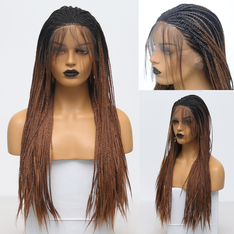RONGDUOYI Long Synthetic Lace Front Wig Two Tone Braided Box Braids Wigs For Women Ombre Brown High Temperature Fiber Lace Wig