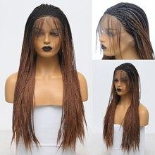 Rongduoyi longo peruca dianteira do laço sintético dois tons trançado caixa tranças perucas para mulher ombre brown fibra de alta temperatura peruca do laço