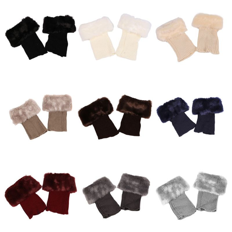 Women Girls Winter Thicken Plush Boot Cuff Ribbed Knitted Short Leg Warmers Solid Color Crochet Gaiters Toppers Socks