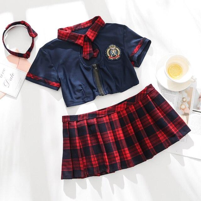 Seksowna dziurka od klucza szkoły dziewczyny bielizna damska mundurek szkolny z przodu krawat spódnica Mini w szkocką kratkę czerwone egzotyczne kostiumy do odgrywania ról