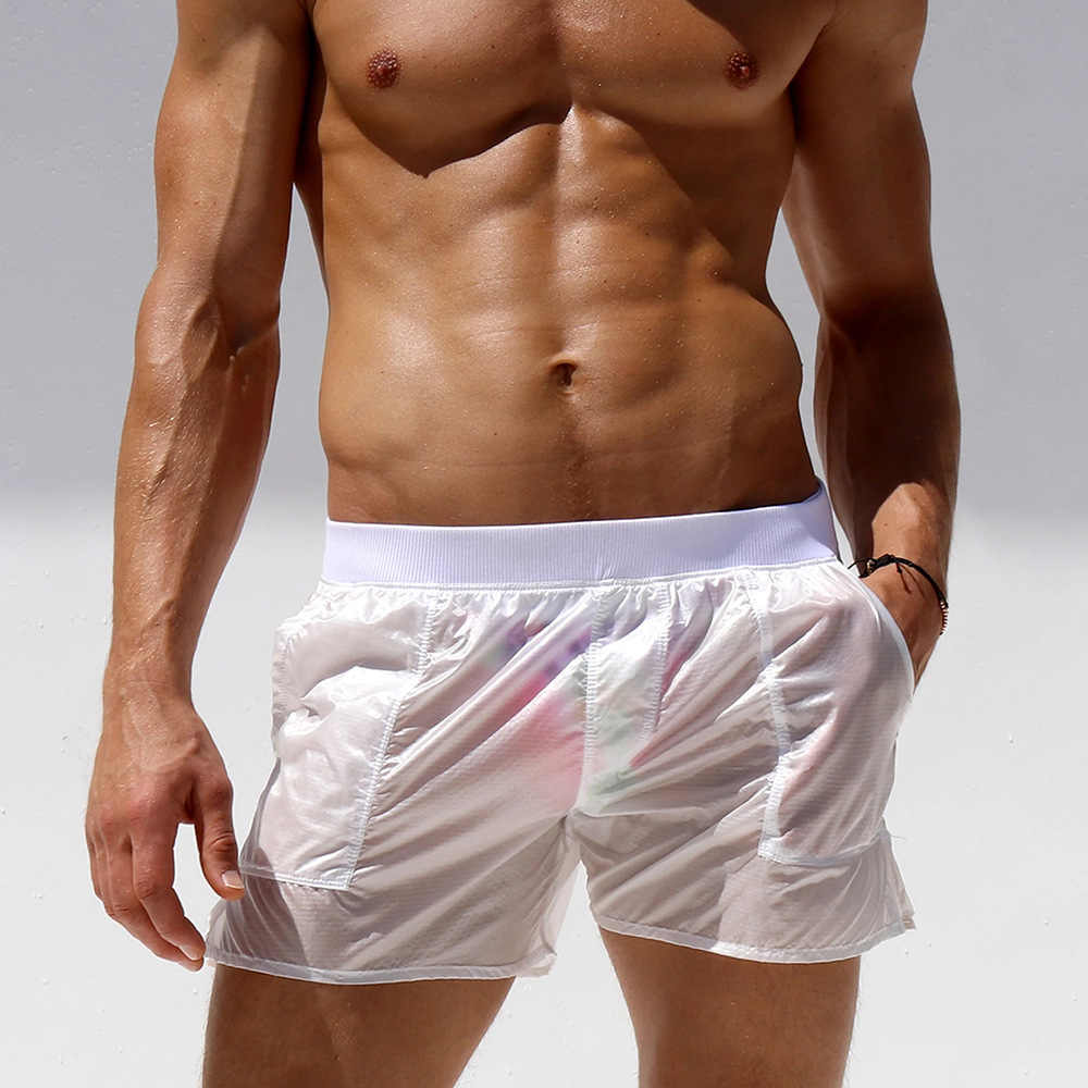 ALSOTO العلامة التجارية مثير شورتات للبحر الرجال شفافة بالكامل تصفح قصيرة دي باين أوم boardshort سروال سباحة قصير بانادوريس البحر قصيرة