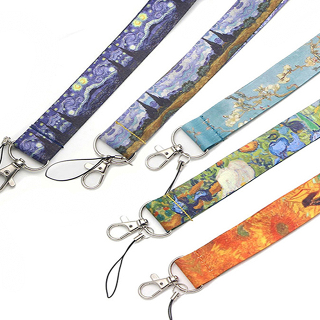 Wholesale 20pcs/lot Van Goghs Oil Paintings Art Keychain Lanyards Id Badge Holder ID Card Pass Mobile Phone USB Badge Holder