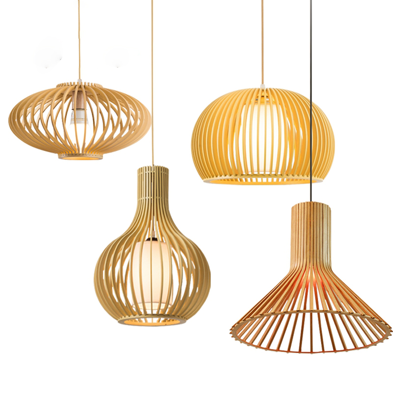 High Quality Cage Wooden Lamp Inner Shade Modern LED Gourd Pendant Lighting Indoor Lights Dining Room Coffee Shop Restaurant