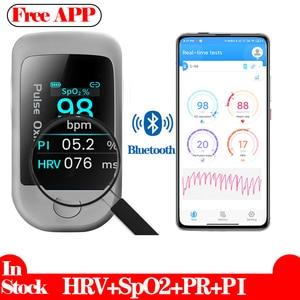 Bluetooth Fingertip Pulse Oximetro Blood Oxygen Saturation Meter HRV SpO2 PR PI Monitor Oximeter De Dedo Android IOS