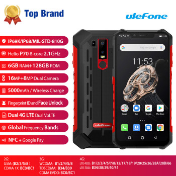 Ulefone Armor 6S Waterproof IP68 NFC Rugged Mobile Phone Helio P70 Otca-core Android 9.0 6GB+128GB Smartphone Global version