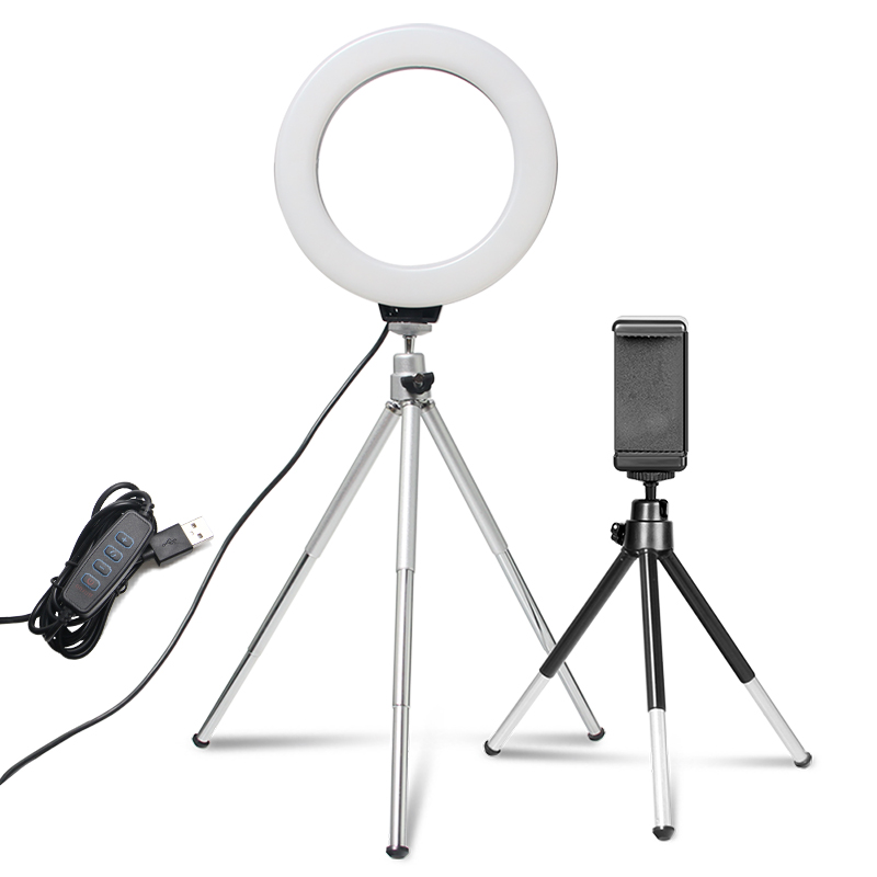 6inch Mini Ring Light Desktop LED Video Light With Tripod Phone Clip USB Plug For YouTuber Video Live Photo Photography Studio
