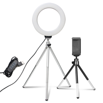 6inch Mini Selfie Ring Light Desktop LED Lamp Video Light With Tripod Phone Clip For YouTuber Photo Photography Studio