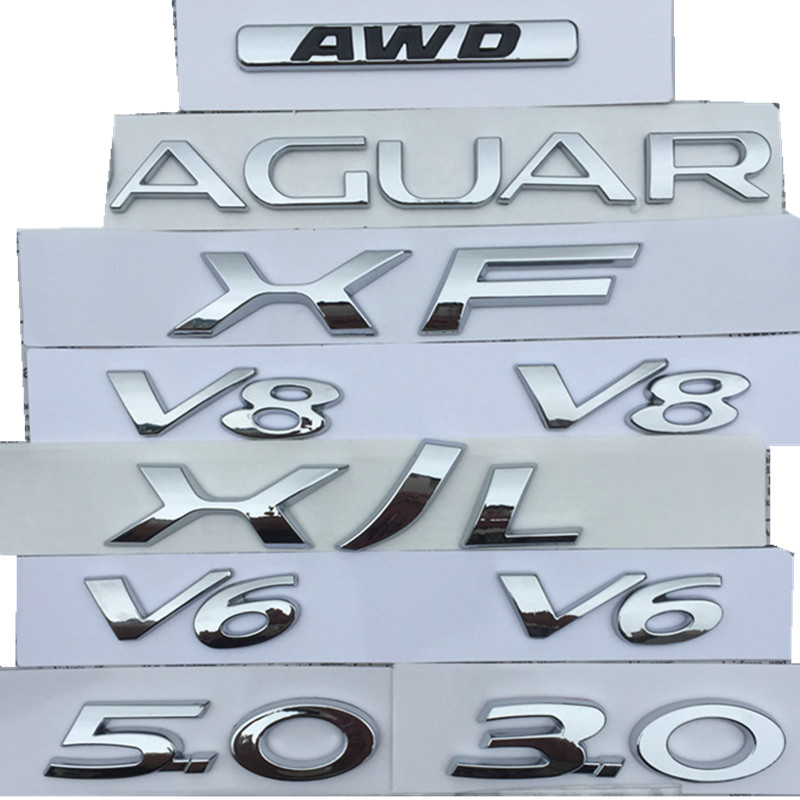 V6 V8 3 0 5 0 AWD XF XJL Letters Emblem for Jaguar Chrome Badge Fender Trunk Discharging Capacity Car Logo Styling stickers