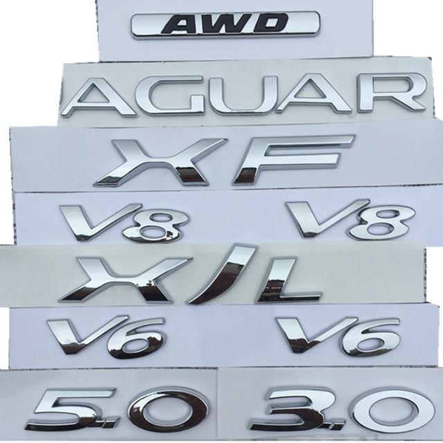 V6 V8 3.0 5.0 AWD XF XJL رسائل شعار ل جاكوار كروم شارة درابزين جذع تفريغ قدرة شعار سيارة ملصقات التصميم